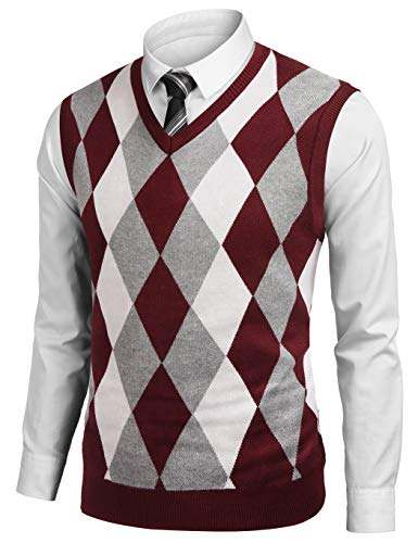 Burlady - Chaleco de punto para hombre, corte normal, cuello en V, con botones, monocolor, para hombre Rojo vino. S