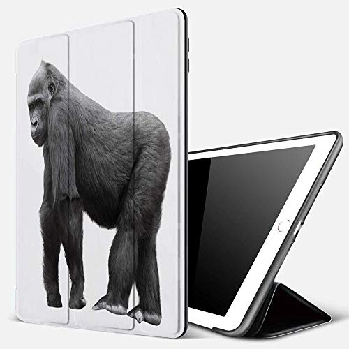 iPad 9.7 inch 2017/2018 Case/iPad Air/Air 2 Cover,Silverback Gorilla Standing on a Lookout Isolated on White Background,PU Leather Shockproof Shell Stand Smart Cover with Auto Wake