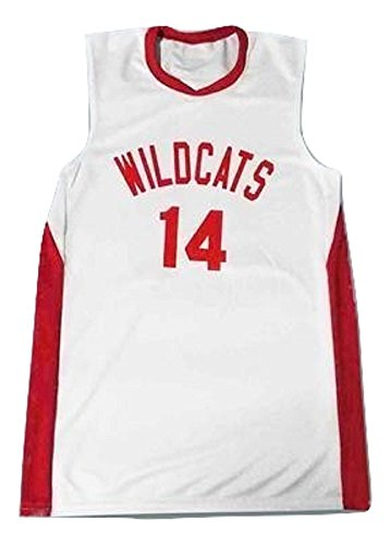 Zac E Troy Bolton 14 East High School Wildcats White Basketball Jersey (58)