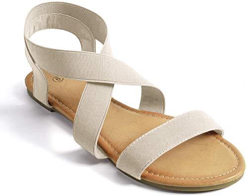 Soles & Souls Elastic Ankle Strap Sandals for Women Flat Beige 9