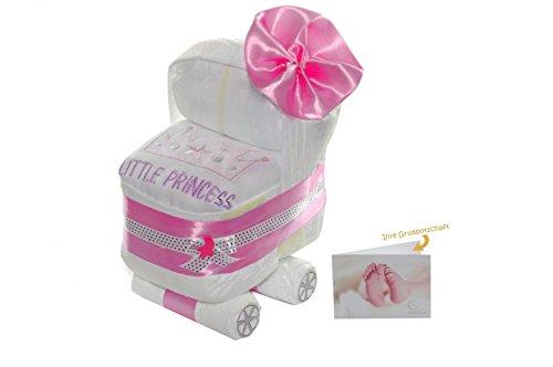 dubistda© Windelwagen rosa für Mädchen - Windeltorte Kinderwagen Babygirl Geschenk zur Geburt