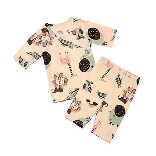 Conjunto Bebe Niña Verano Algodón orgánico de bambú Pijama de Manga Suelta de 7 Puntos Ropa de Dormir (león Rosa,2-3 años)