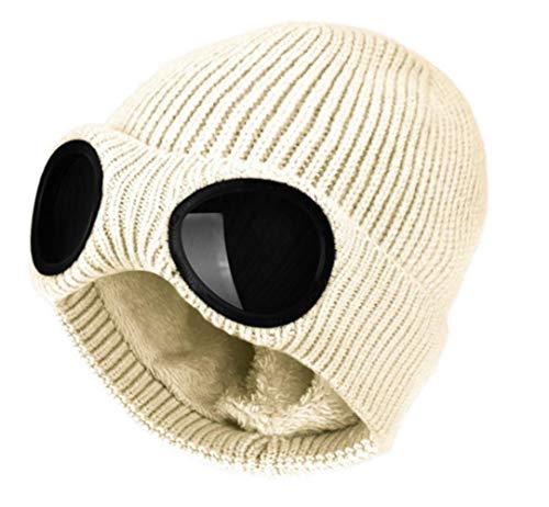 RUK Eye Hat Gorro de Lana con protección para los oídos para Hombres y Mujeres con Gorro Rizado cálido de Felpa, Capuchas de esquí al Aire Libre de otoño e Invierno, Blanco, Talla única