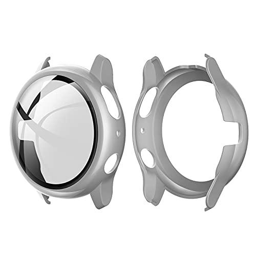 Romacci Capa de PC rígido com protetor de tela de vidro temperado Capa protetora completa Substituição do revestimento do pára-choque fino e transparente para Samsung Galaxy Watch Active 2 44 mm cinza