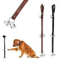 Mighty Paw ティンクルベル、プレミアムレザーの犬用ドアベル、耐久性のジングルベルと余分なソフトレザー、トイレトレーニング用housetrainingの犬のドアの鐘、自由壁のフックを含み ブラック