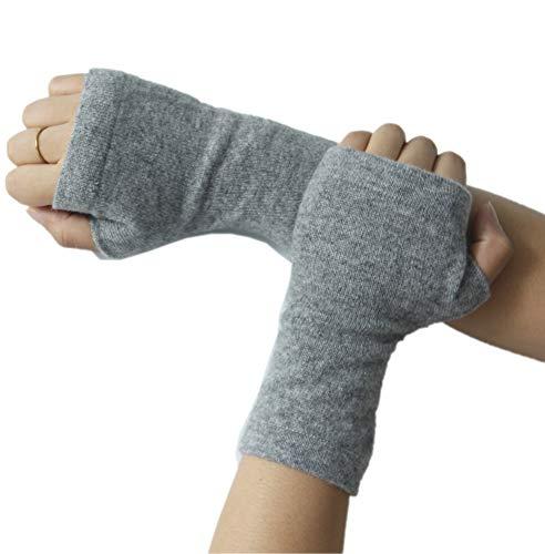 prettystern 100% Kaschmir Pulswärmer Stulpen gestrickte Damen Fingerlose Handschuhe Weich Warm Hell-grau