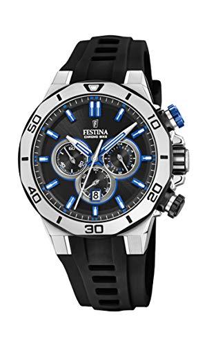 Festina Unisex Erwachsene Chronograph Quarz Uhr mit Silikon Armband F20449/2