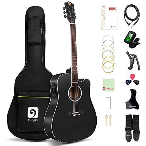Vangoa 4/4 Guitarra Electroacústica 41 Pulgadas Cutaway Guitarras Acústicas con Cuerdas Metálicas, Ecualizador de 4 bandas, Kits Para Principiantes, Negro