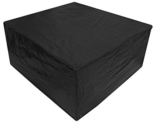Woodside Black Medium Patio Set/Oval/Rectangle Table Cover Garden Outdoor Furniture Cover 2.1m x 1.93m x 0.97m/6.8ft x 6.3ft x 3.2ft