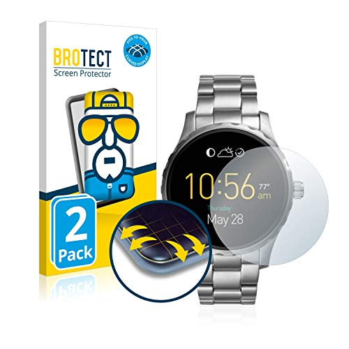 BROTECT Full-Cover Schutzfolie kompatibel mit Fossil Q Marshal (2.Gen) (2 Stück) - Full-Screen Bildschirmschutz-Folie, 3D Curved, Kristall-Klar