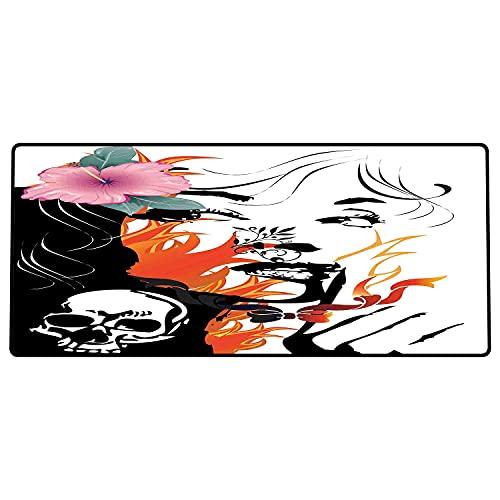 Alfombrilla de ratón para Juegos 800x400x3mm,Tatuaje, Mujeres Atractivas con Flor Rosa en el Pelo Cerca de un diseño de Calavera, Naranja Rosa Base de Goma Antideslizante, Adecuada para Jugadores
