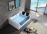 Bañera de hidromasaje para 2 personas, 180 x 120 cm