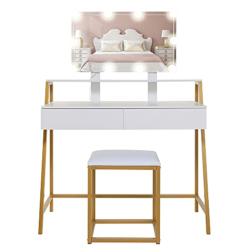 USIKEY Vanity Table Set with 10 LED Lights, Makeup Table with Large Mirror & 2 Drawers, Dressing Vanity Tables, Dresser Desk with Gold Metal Frame and Cushioned Stool, White