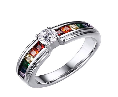 JAJAFOOK 316L Stainless Steel LGBT Gay& Lesbian Pride Rainbow CZ Cubic Zirconia Wedding Engagement Rings
