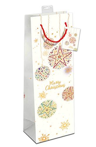 Premium Geschenktaschen für Flaschen 6 Stück Weihnachten Flaschentüten edle Geschenktüten für Wein Sekt Champagner (12x39x10cm) Geschenkbeutel mit farbiger Kordel + Namenskarte (Weihnachtskugeln)