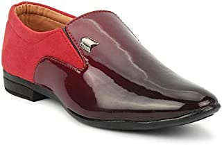 Tik-Tok Shoes Boys/Kids RED Half Patent Synthetic Leather loffer Shoes