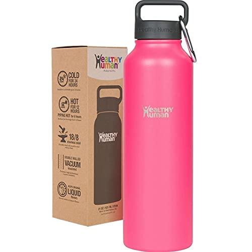 Healthy Human Water Bottle Stein, Lightweight BPA Free Metal Stainless Steel Sports Water Bottles 32oz hawaiian pink