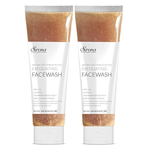 Sirona Natural Exfoliating Face Wash Facial Cleanser - 12.6 Fl Oz with Apricot, Flaxseed Extracts & Mint Oil, Contains No Chemical Actives- Helps in Blemishes, Fights Acne, Non-drying (8.4 FL OZ)