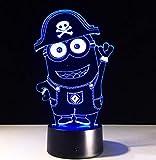 Lámpara de noche con diseño de Minions de Sleeping Night Light para Navidad, 7 colores cambiantes