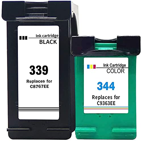 Ink E-Sale Remanufacturado 339 344 para Cartuchos HP 339 HP 344 Compatibles con DeskJet 5740 5940 6540 6620 6840 6940 6980 PhotoSmart 2575 2610 8450 8750 D5160 OfficeJet 7110 7130,1 Negro 1 Tricolor