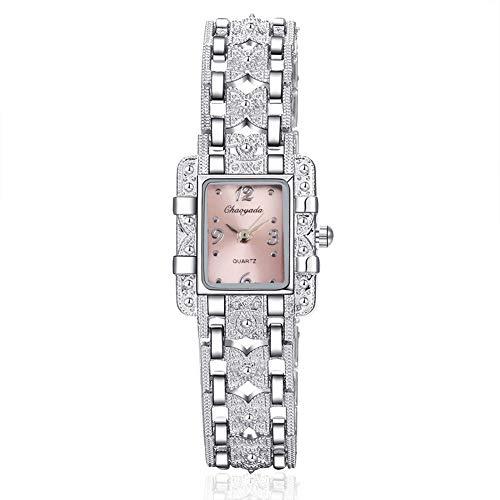 G-RF Dial Acero Inoxidable del Cuadrado de la Correa de Reloj de Cuarzo (Negro) (Color : Pink)