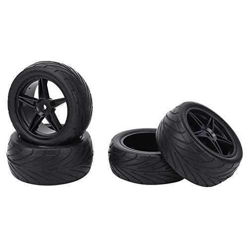 Pneu de carro RC, pneu de roda de carro RC, peça de modificação universal de alta aderência resistente ao desgaste, veículo RC, carro de esteira RC para carro RC 1/10 caminhão RC(black)