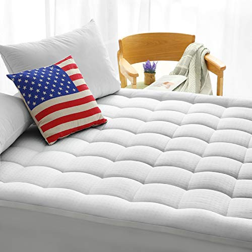 """MAEVIS Queen Size Mattress Pad Cover Cooling Soft Mattress Topper, Bed Protector Hypoallergenic Down Alternative Fill Cotton Pillow Top (8-21"""" Fitted Deep Pocket)"""