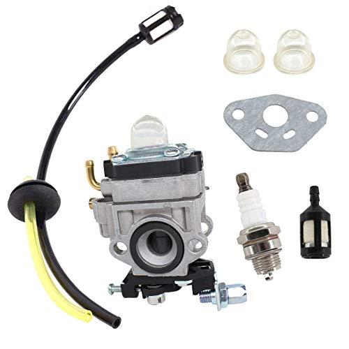 AISEN Vergaser mit Dichtung Zündkerze Benzinfilter Benzinschlauch für AL-KO FRS 410, FRS 4125 Motorsense/WOLF HSG 55 Heckenschere