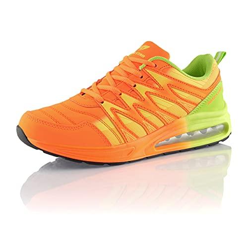 Fusskleidung® Damen Herren Sportschuhe Dämpfung Sneaker leichte Laufschuhe Orange Grün EU 36