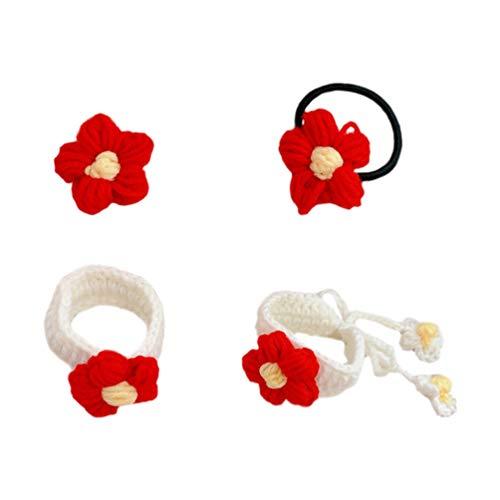 Amosfun 1 set rode bloemen haarelastiek broche pin armband set kinderen peuter kinderen elastische paardenstaart houder haarbanden elastische haaraccessoires label pin armband voor vrouwen