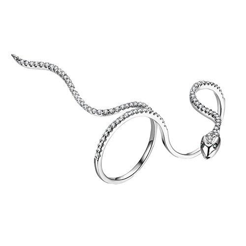 Cherryzz - Anello regolabile in stile punk rock, stile serpente, con cristalli, per donne e uomini e Ottone placcato oro 18 carati, 53 (16.9), colore: Argento