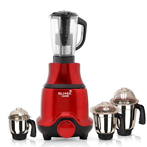 Su-mix BUTRSA21 1000-Watt Mixer Juicer Grinder with 4 Jars (1 Juicer Jar, 1 Wet Jar, 1 Dry Jar and 1 Chutney Jar) - Red.Make in India