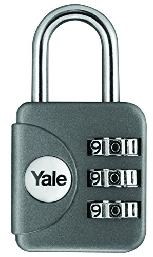 Yale YP1/28/121/1G Combination Travel Padlock, Grey, 28mm, pack of 1, suitable for travel bags and luggage