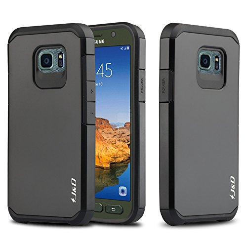 J&D Case Compatible for Galaxy S7 Active Case, Heavy Duty Dual Layer Hybrid Shock Proof Protective...