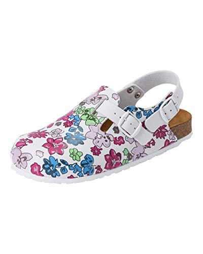 CLINIC DRESS Clog - Clogs Damen bunt weiß Motiv. Schuhe für Krankenschwestern, Ärzte oder Pflegekräfte bunt, Blüten 42