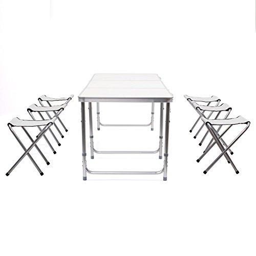 HOMFA Mesa plegable camping Mesa playa Mesa de jardín Mesa para picnic con 6 sillas ajustables Mesa para acampada Blanco 180x60x55cm 30 kg
