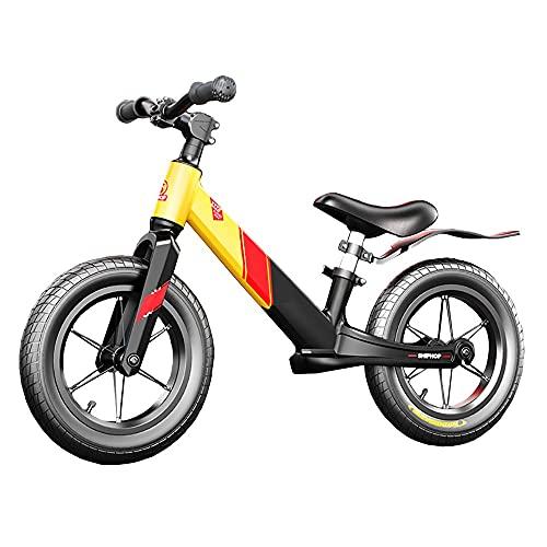 DODOBD Biciclette Senza Pedali per Bambini, Bici Senza Pedali Leggera e Resistente Fino 60 kg Telaio in Magnesio Ruote da 12 Pollici Manubrio e Sella Regolabili Comodo Balance Bike