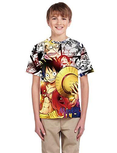 PIZOFF 3D Print Jungen Mädchen T-Shirt Lustige Drucken Sommer Beiläufige Grafik Kurzen Ärmeln one Peace