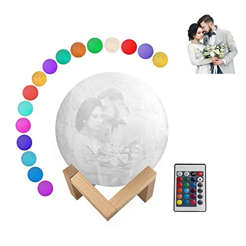 Personalized Moon Lamp with Picture and Text, 16 Colors Customized Led 3D Print Moon Light Lamps with Wooden Holder, Remote, and USB Rechargeable, Kids Friends Lover Christmas Gifts