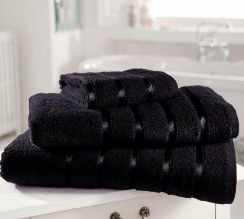 Gaveno Cavailia Kensington - Toalla de Mano (algodón Egipcio, Absorbente, 500 g/m², 4 Unidades, 50 x 80 cm), Color Negro