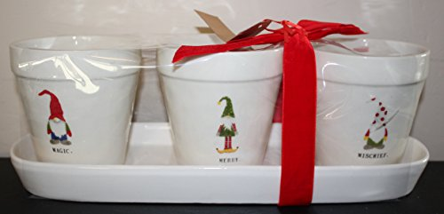 Rae Dunn by Magenta MAGIC. MERRY. MISCHIEF. in typeset letters with Christmas Gnomes in Hats 3 flower pot set with tray and Red Christmas Bow. -  43235-229083