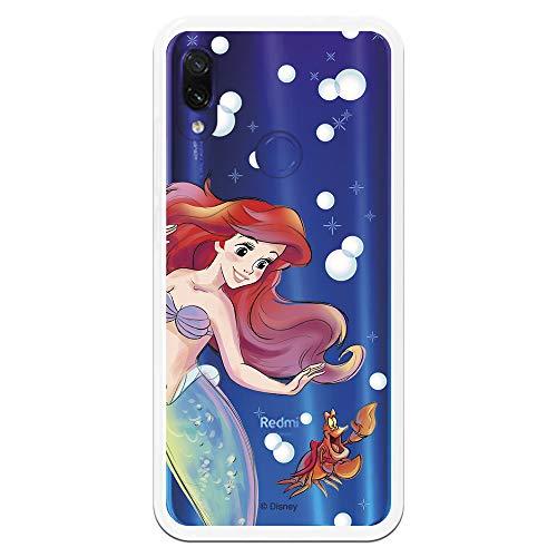 Funda para Xiaomi Redmi Note 7-Note 7 Pro Oficial de La Sirenita Ariel y Sebastián Burbujas para Proteger tu móvil. Carcasa para Xiaomi de Silicona Flexible con Licencia Oficial de Disney.