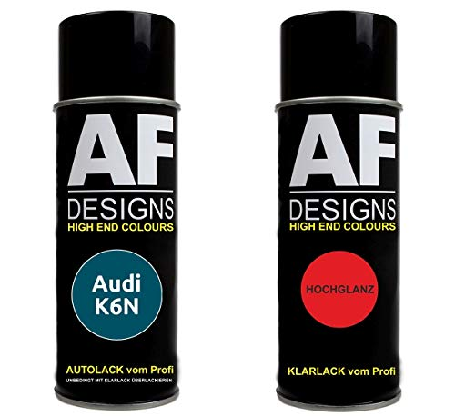 Alex Flittner Designs Autolack Spraydose Set für Audi K6N Oceanic MET Basislack Klarlack Sprühdose 400ml