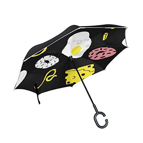 Parapluie inversé Double Couche Coupe-Vent extérieur Pluie Soleil parapluies inversés avec poignée en Forme de C - Nouilles aux œufs frits