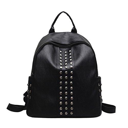 HCFKJ👜 Tasche, Mode Frauen Mädchen Leder Rucksack Niet Dekoration Reise Rucksack Schultasche (BK)