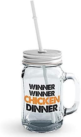 Loud Universe Chicken Dinner Pubg Mason Mug Jar with Straw