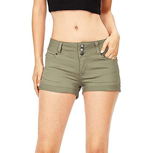 Pantalones Cortos de Mezclilla Ajustados de Cintura Alta livianos y Finos para Mujer Pantalones Vaqueros elásticos con Botones de Streetwear de Color sólido XL