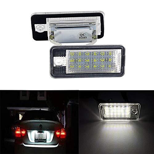 Yijueled 2 luces LED para matrícula de A3, S3, A4, S4, A6, C6, A8, S8, Q7, RS4, RS6, 6500 K, xenón blanco, 18 SMD