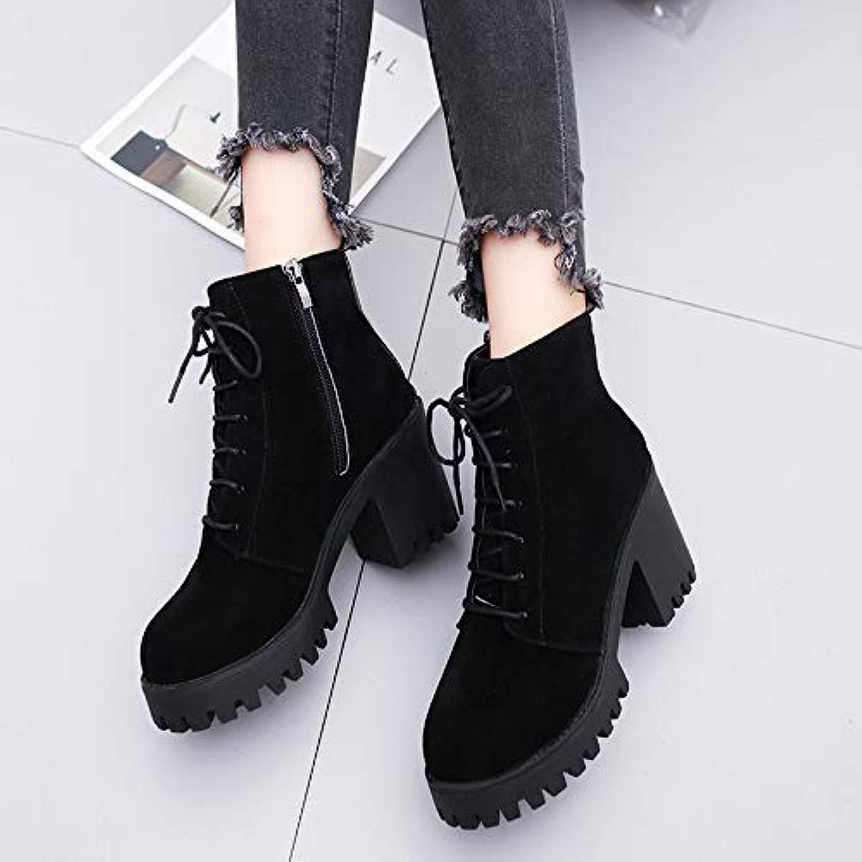 Damen Stiefel Herbst und Winter Modelle mit Absatz Martin Stiefel Stiefel wasserdicht Plattformgurt, schwarz, 37