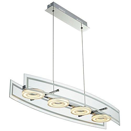 20 Watt SMD LED Hänge Lampe Chrom Wohn Zimmer Glas Decken Hänge Leuchte höhenverstellbar Esto 780081